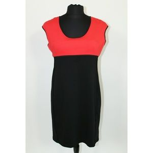 Narciso Rodriguez Red Black Color Block Dress